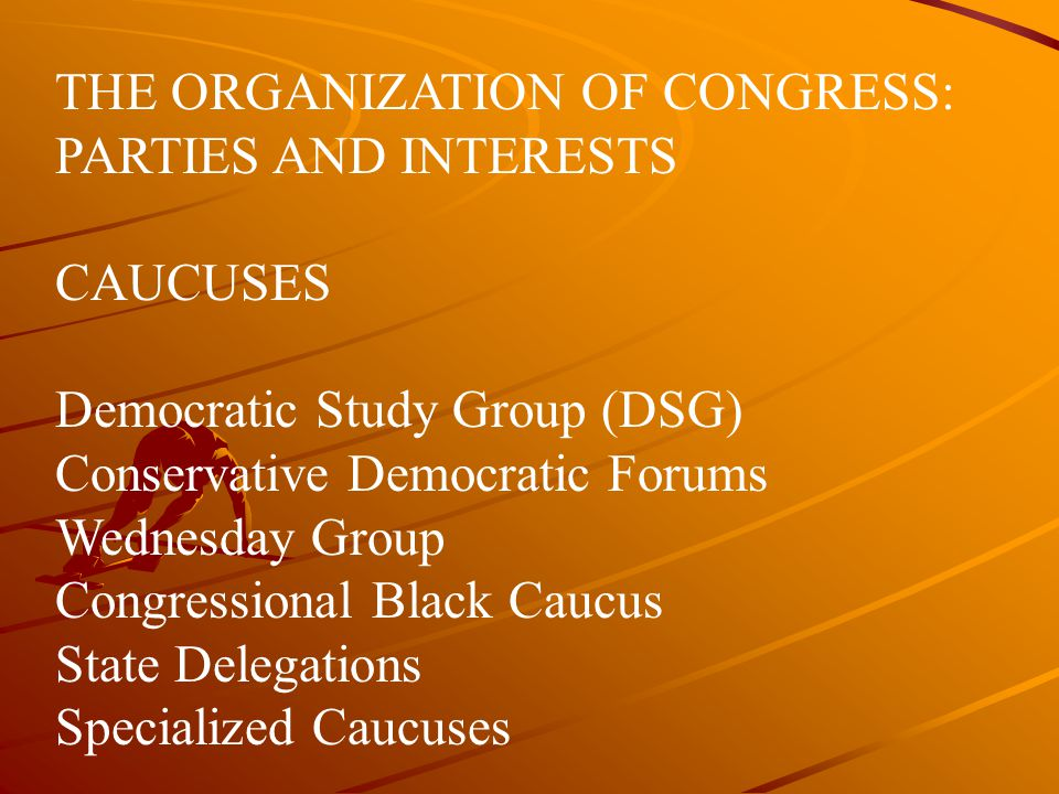 THE ORGANIZATION OF CONGRESS: PARTIES AND INTERESTS
