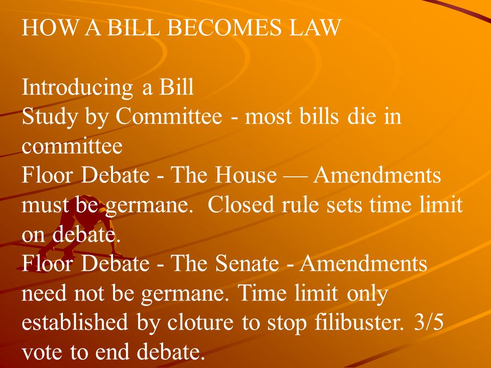 HOW A BILL BECOMES LAW Introducing a Bill. Study by Committee - most bills die in committee.