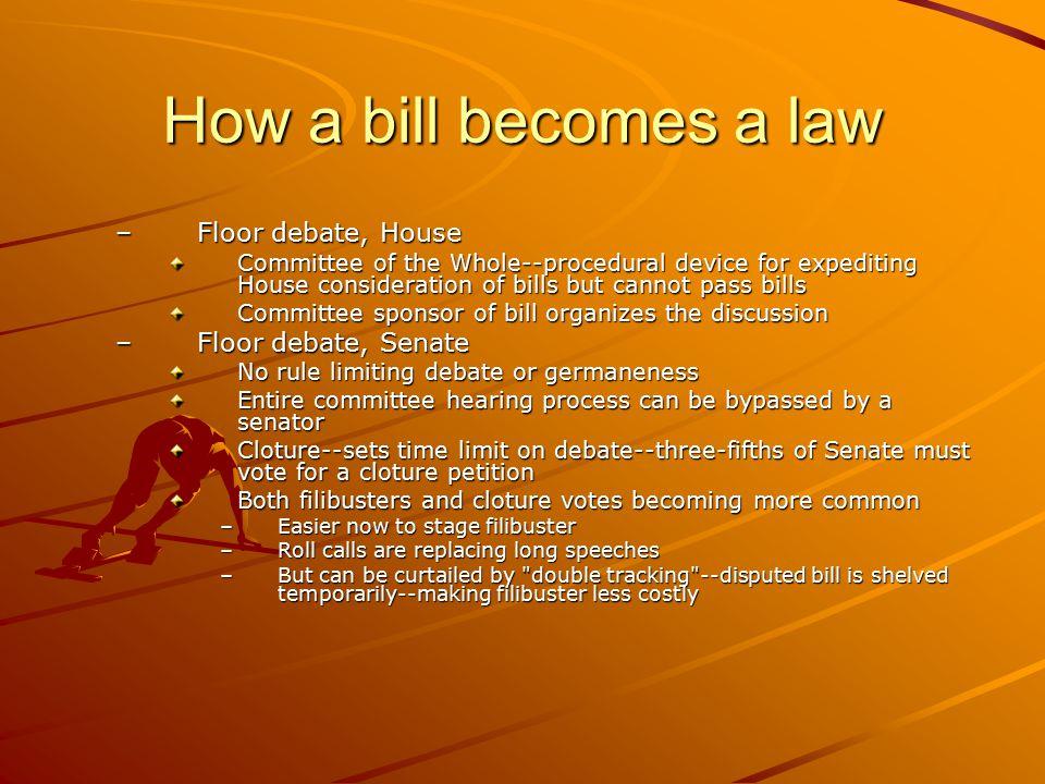 How a bill becomes a law Floor debate, House Floor debate, Senate