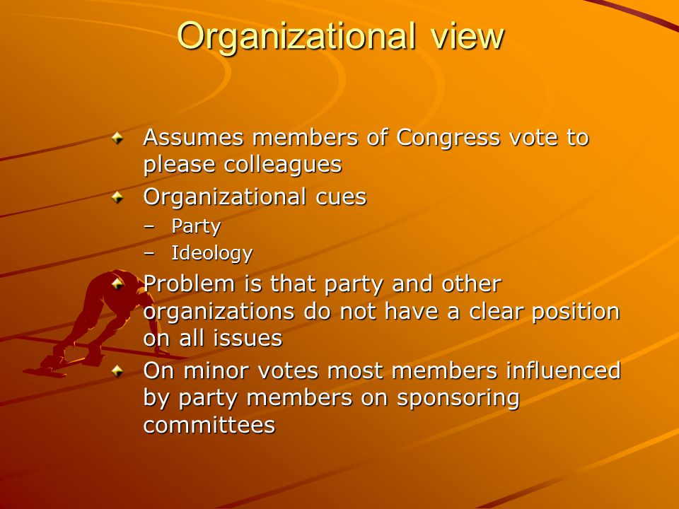Organizational view Assumes members of Congress vote to please colleagues. Organizational cues. Party.