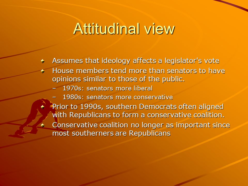 Attitudinal view Assumes that ideology affects a legislator s vote