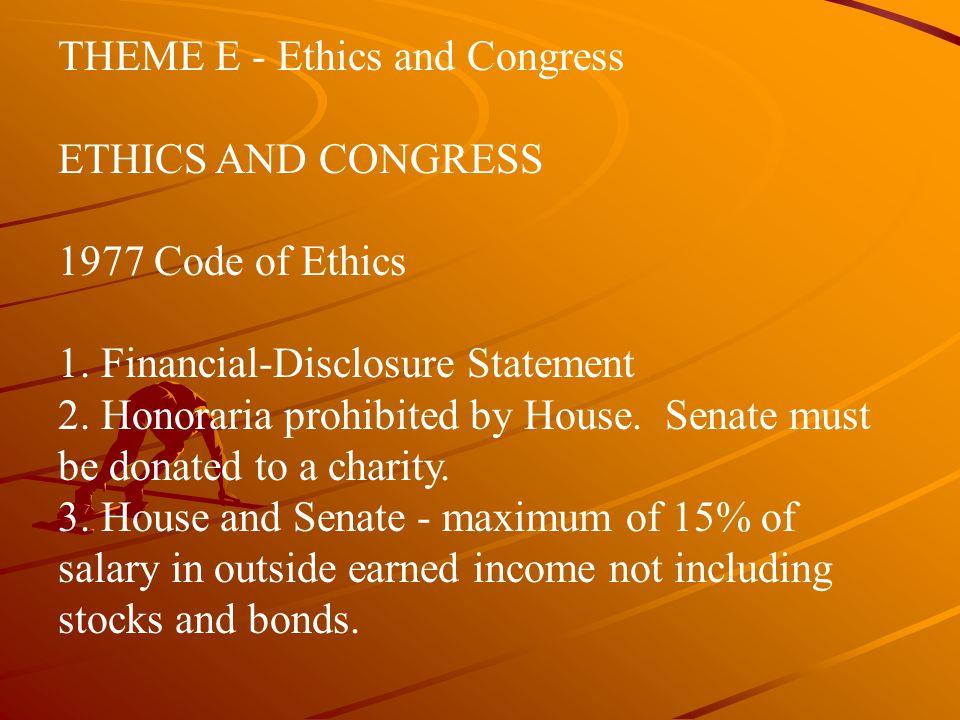 THEME E ‑ Ethics and Congress