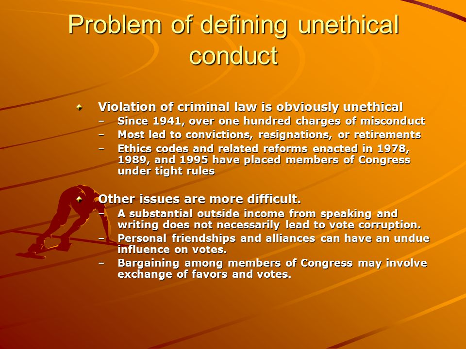 Problem of defining unethical conduct