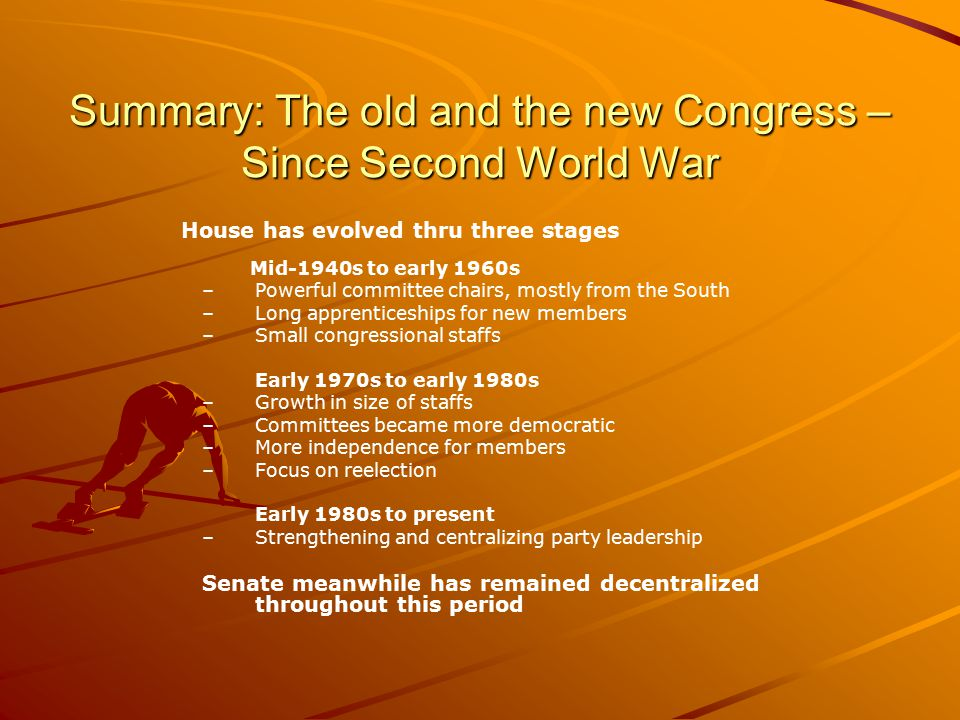 Summary: The old and the new Congress – Since Second World War