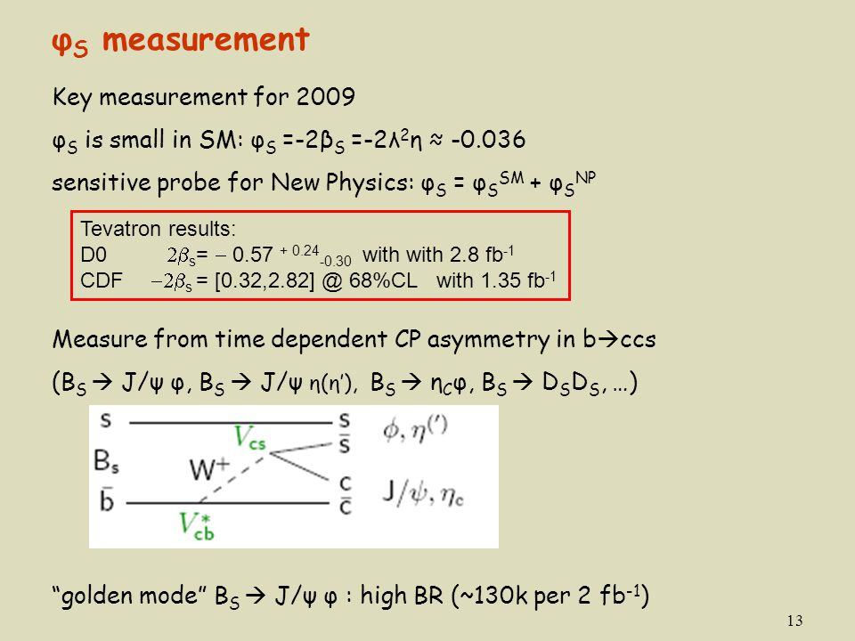 φS measurement Key measurement for 2009