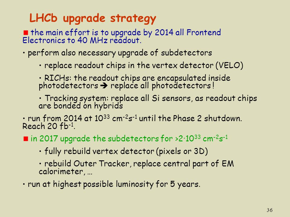 LHCb upgrade strategy the main effort is to upgrade by 2014 all Frontend Electronics to 40 MHz readout.