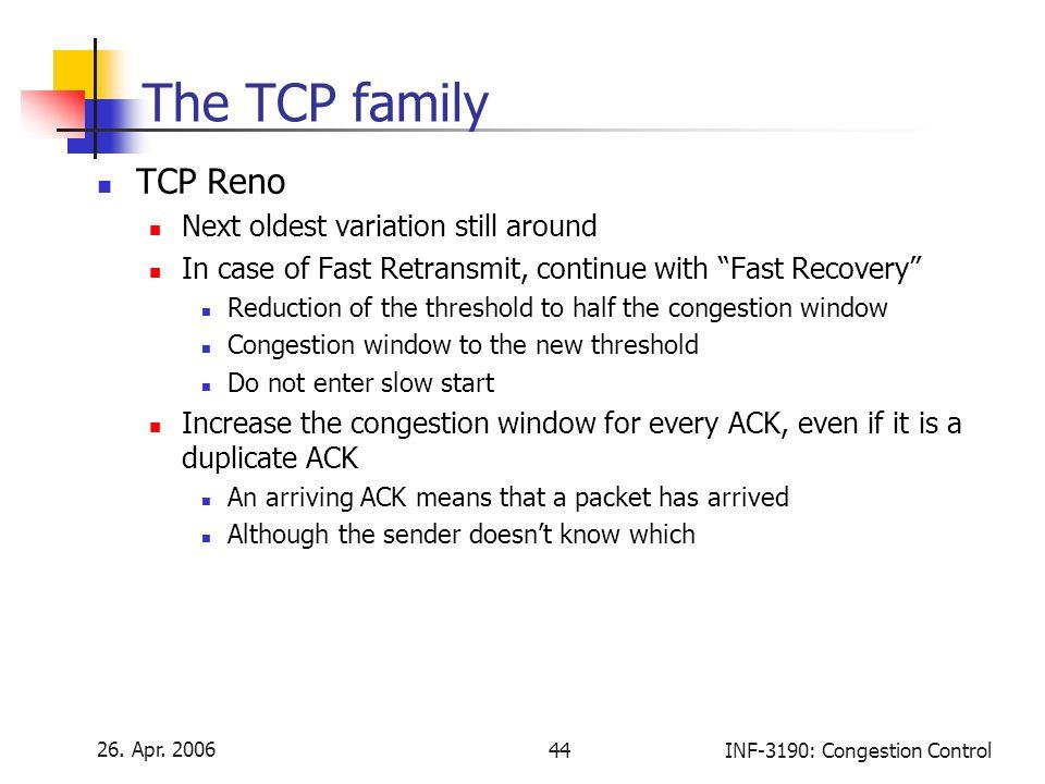 The TCP family TCP Reno Next oldest variation still around
