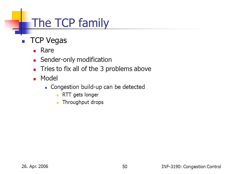 The TCP family TCP Vegas Rare Sender-only modification