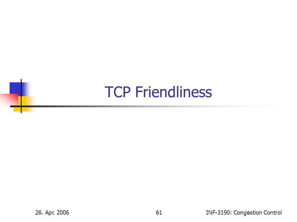 TCP Friendliness 26. Apr. 2006 61