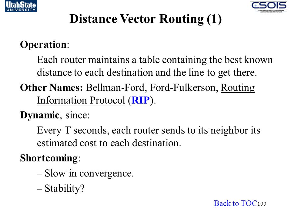 Distance Vector Routing (1)