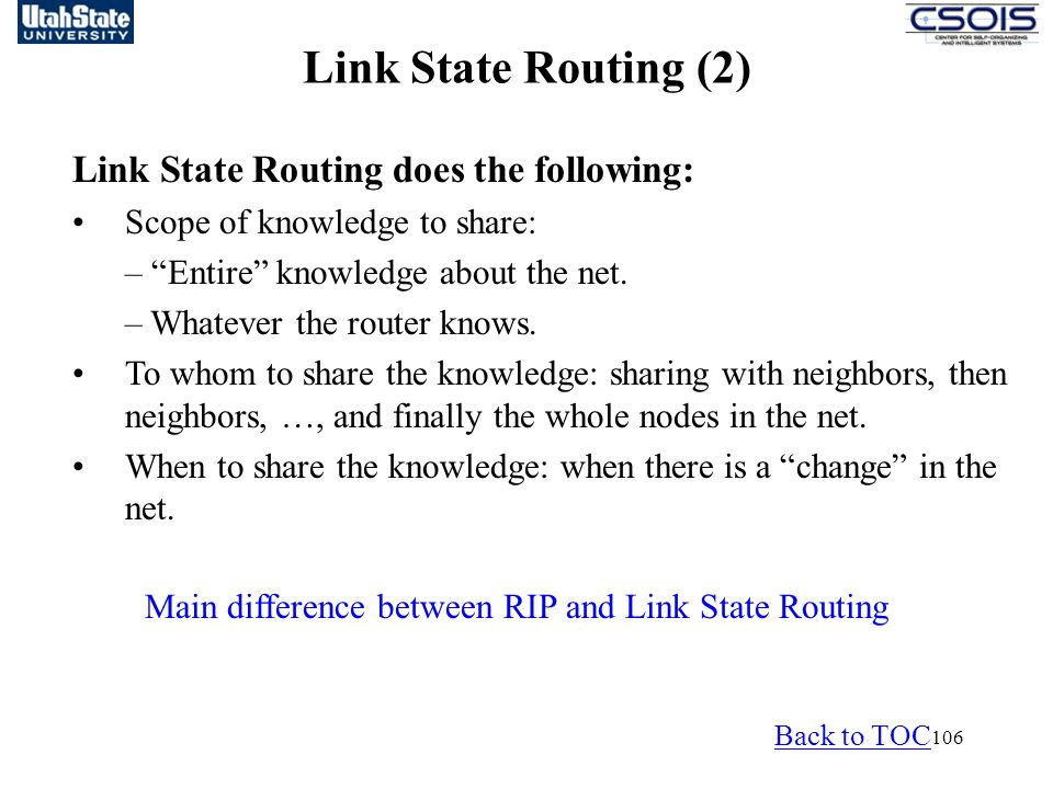 Link State Routing (1) Link State Routing (2)