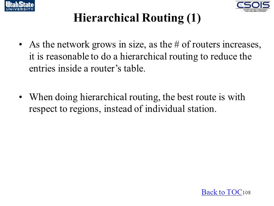 Hierarchical Routing (1)