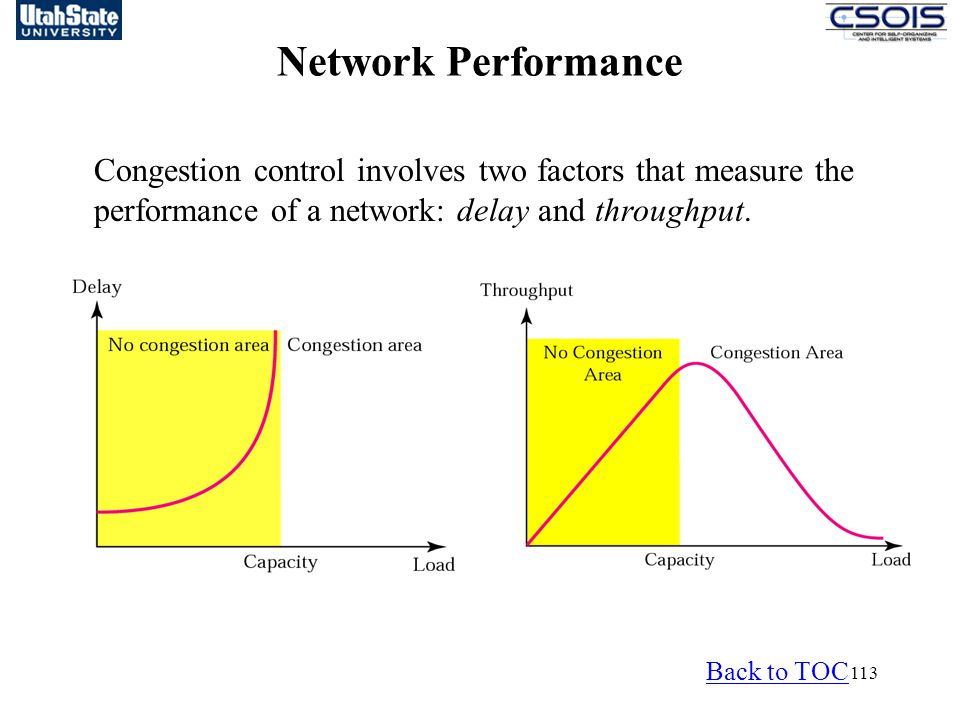 Network Performance Congestion control involves two factors that measure the performance of a network: delay and throughput.