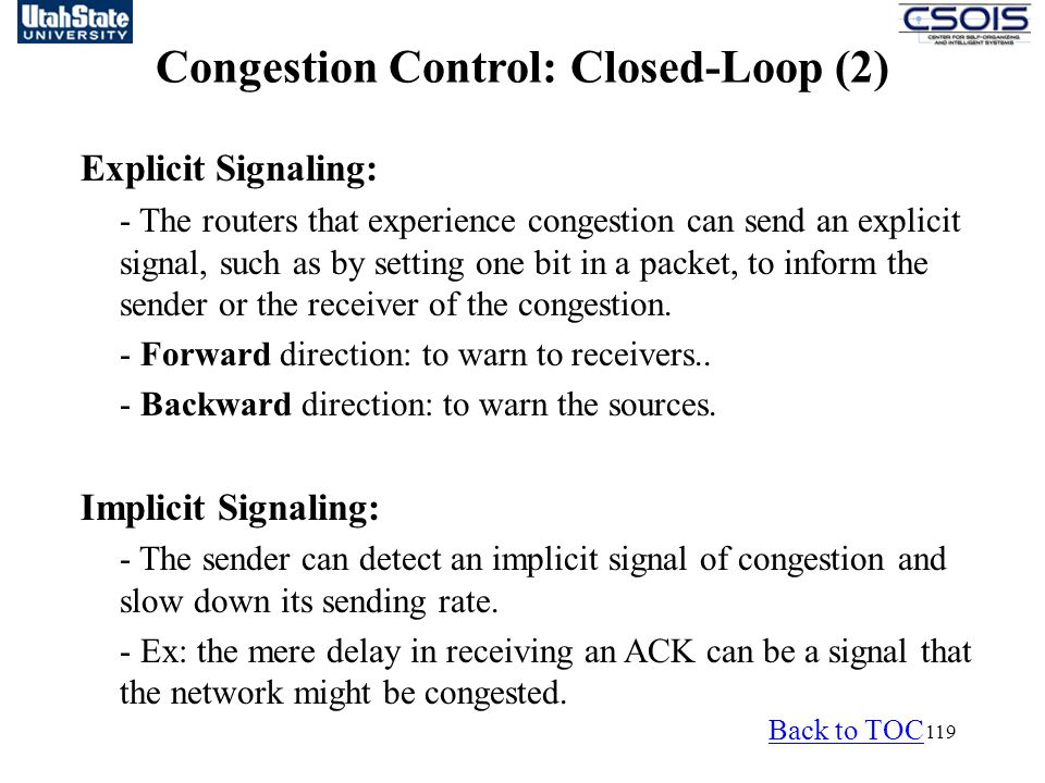 Congestion Control: Closed-Loop (2)