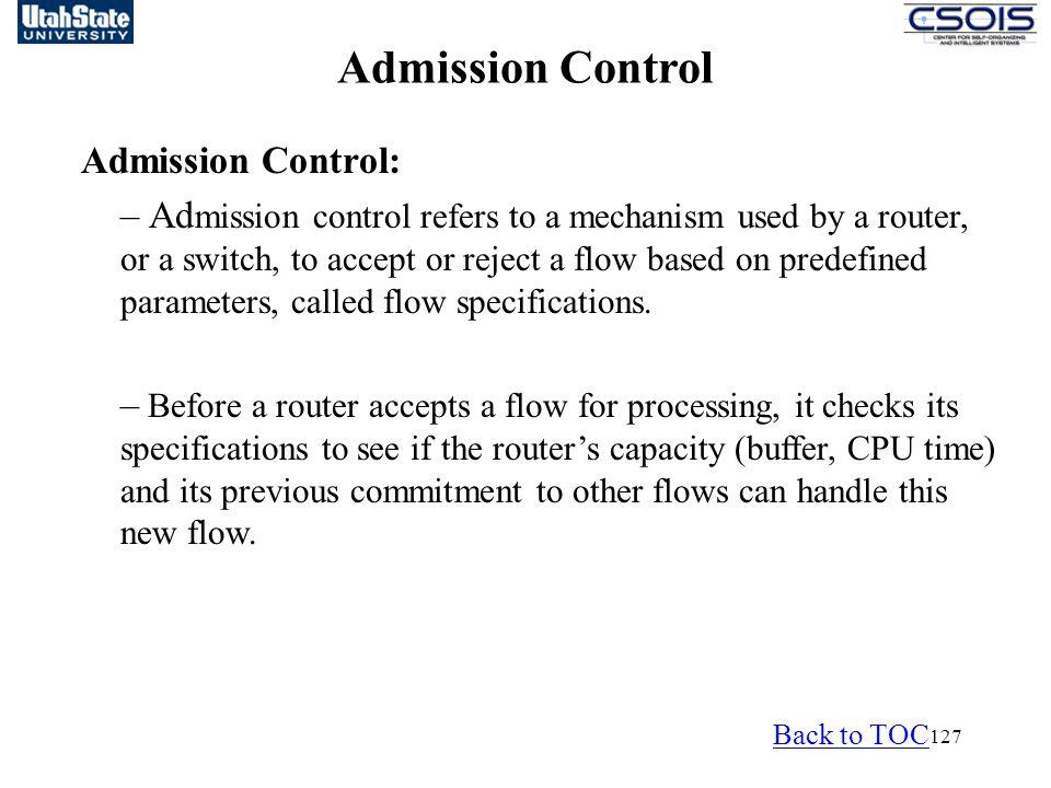 Admission Control Admission Control: