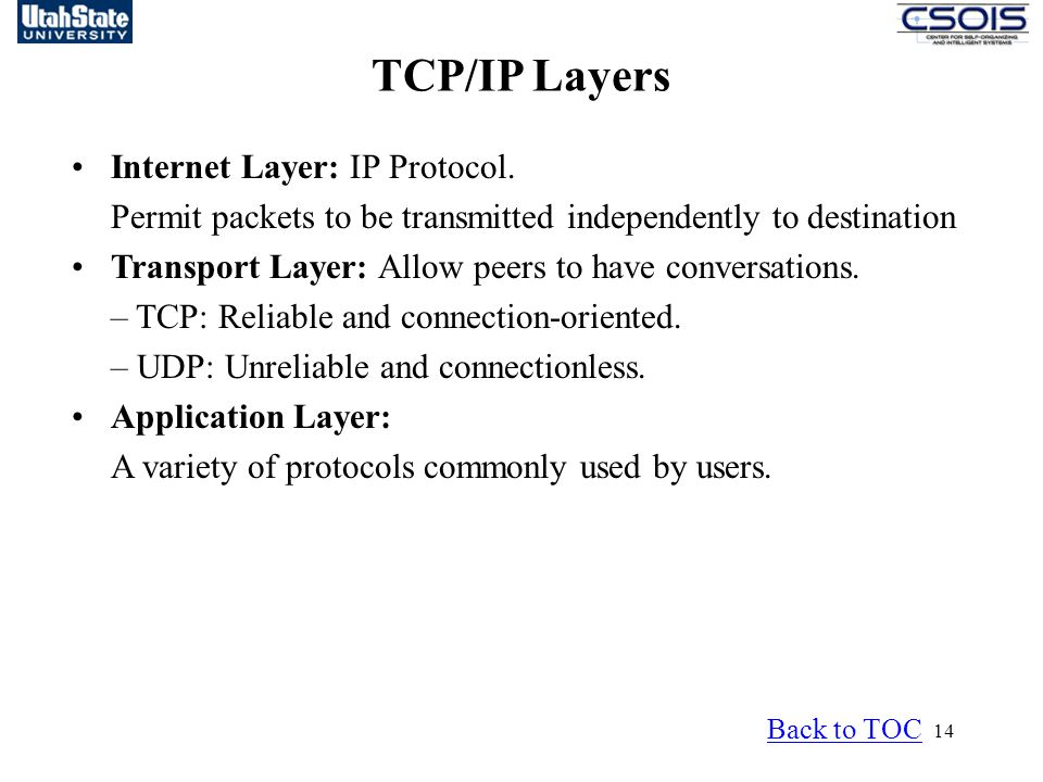 TCP/IP Layers Internet Layer: IP Protocol.