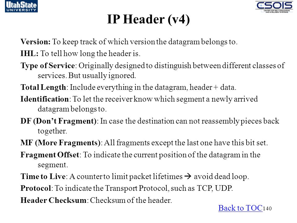 IP Header (v4) Version: To keep track of which version the datagram belongs to. IHL: To tell how long the header is.