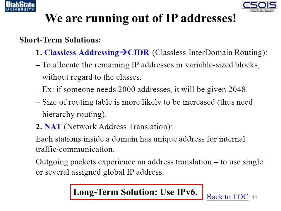We are running out of IP addresses!