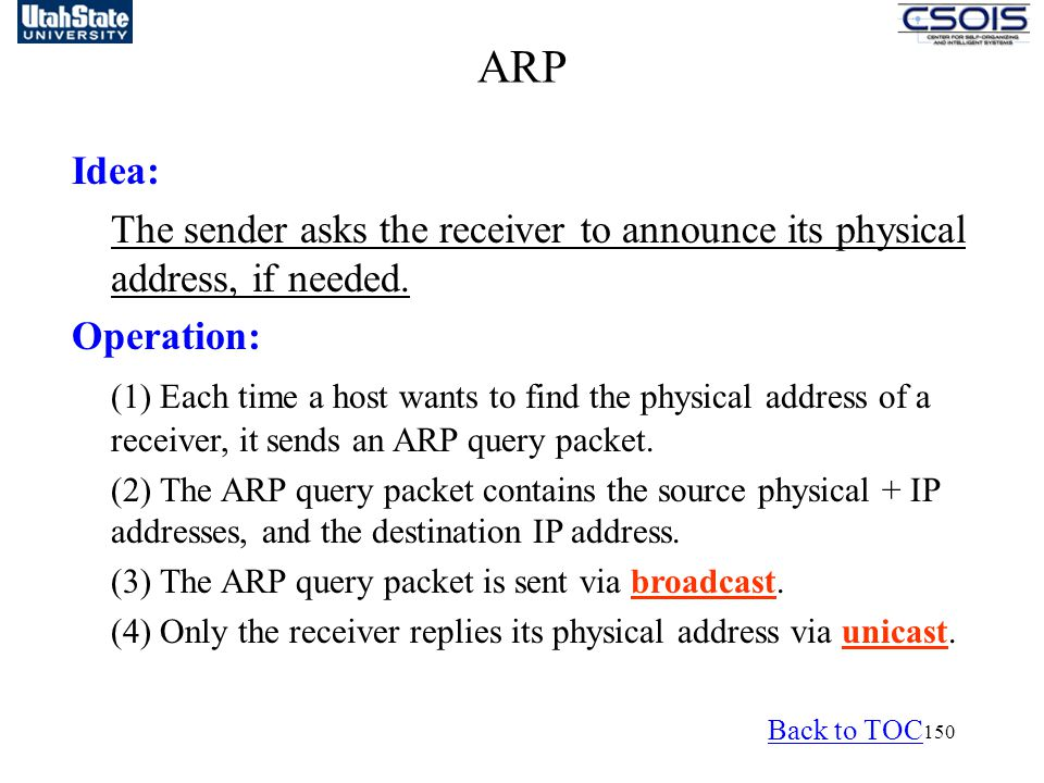 ARP Idea: The sender asks the receiver to announce its physical address, if needed. Operation: