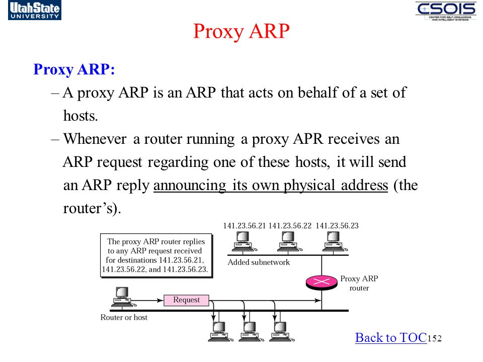 Proxy ARP Proxy ARP: – A proxy ARP is an ARP that acts on behalf of a set of. hosts. – Whenever a router running a proxy APR receives an.