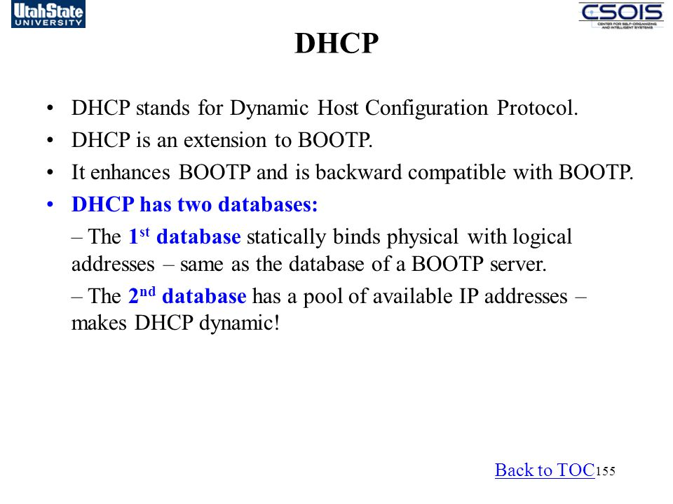 DHCP DHCP stands for Dynamic Host Configuration Protocol.