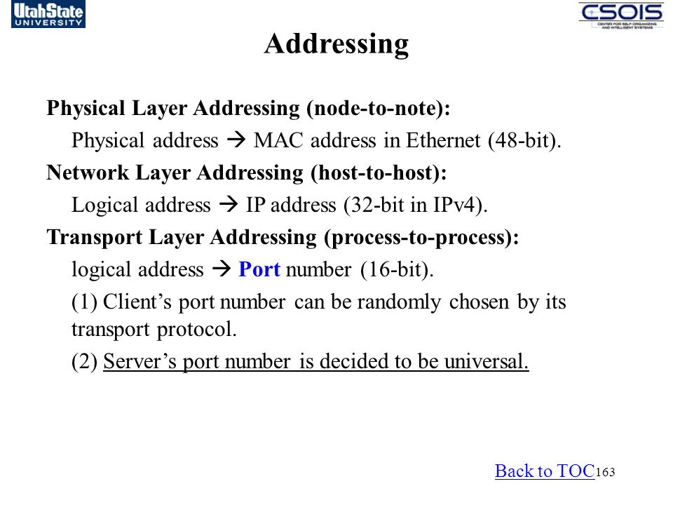 Addressing Physical Layer Addressing (node-to-note):