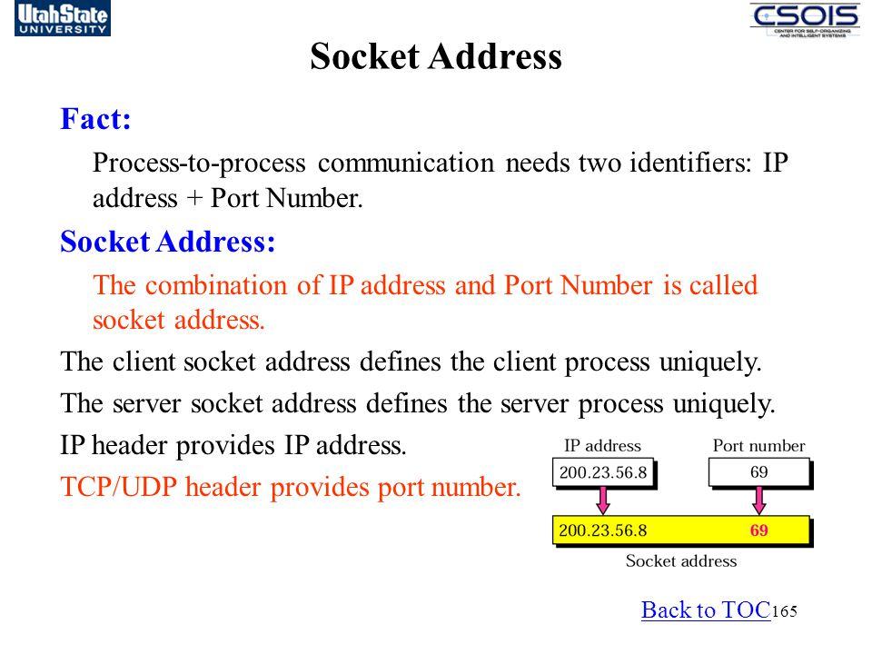 Socket Address Fact: Socket Address: