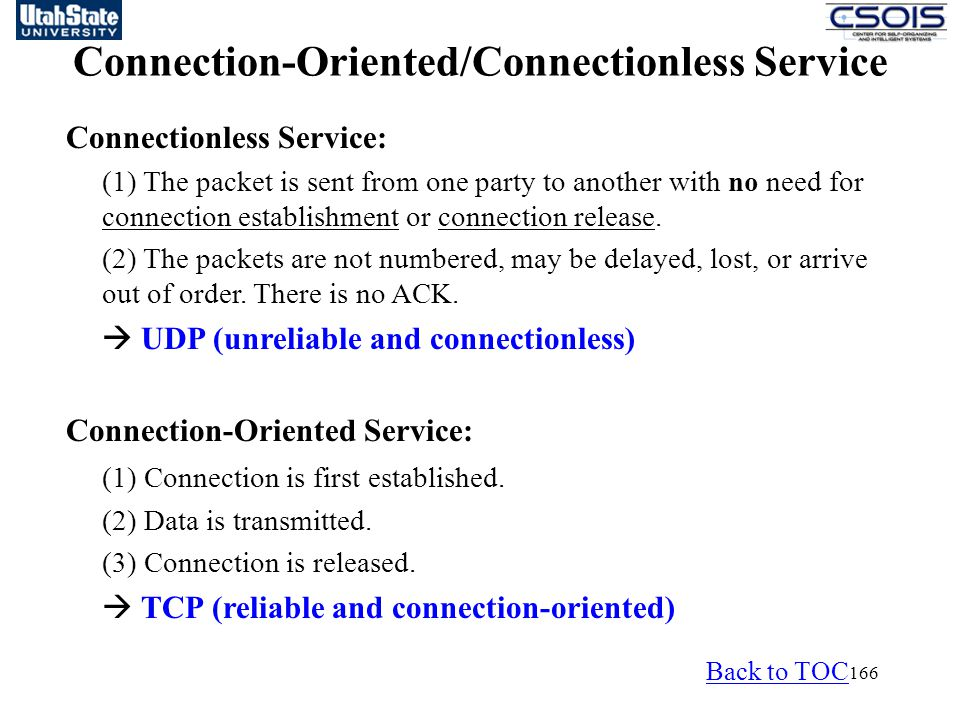 Connection-Oriented/Connectionless Service