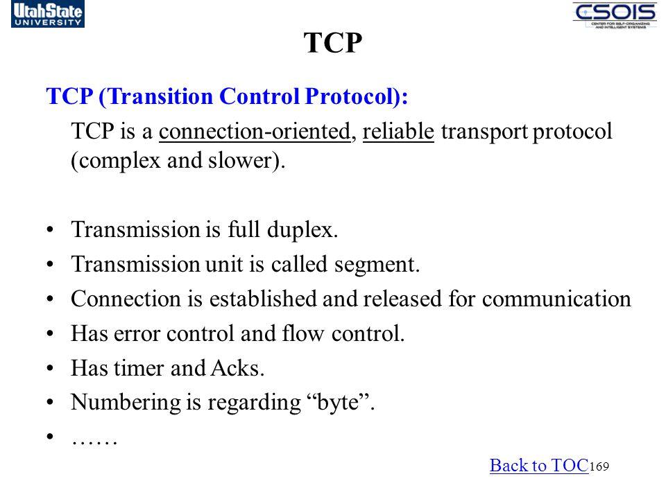 TCP TCP (Transition Control Protocol):