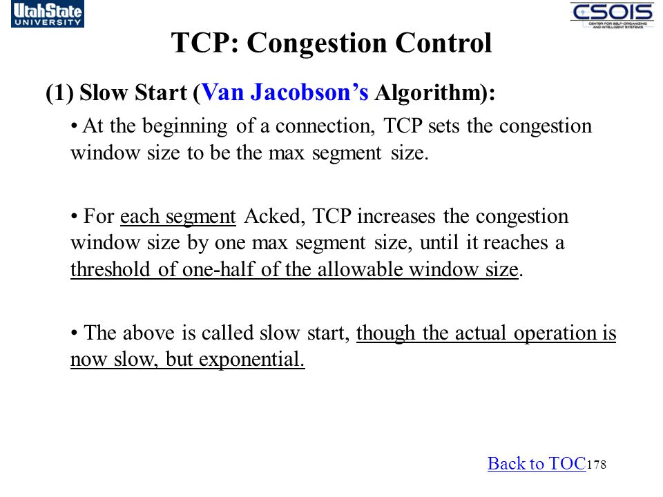 TCP: Congestion Control