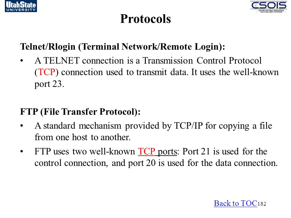 Protocols Telnet/Rlogin (Terminal Network/Remote Login):