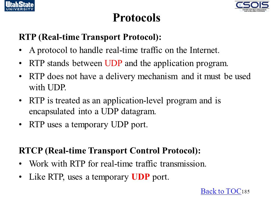 Protocols RTP (Real-time Transport Protocol):