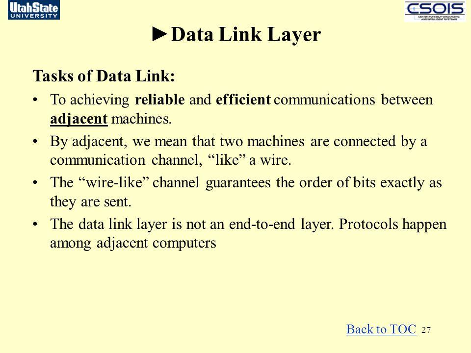 ►Data Link Layer Tasks of Data Link: