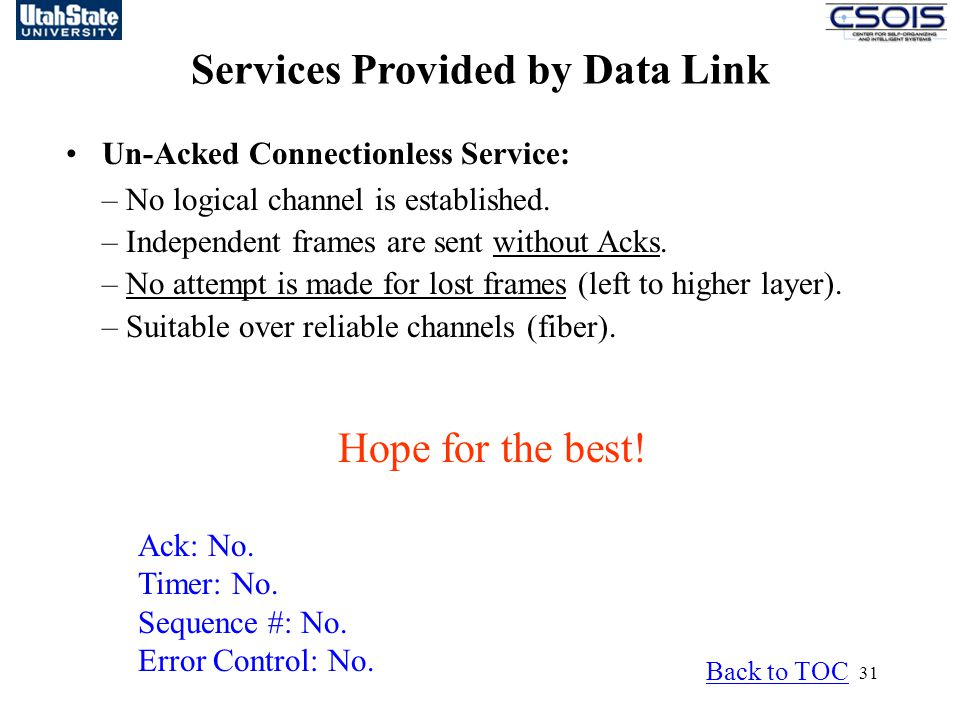 Services Provided by Data Link