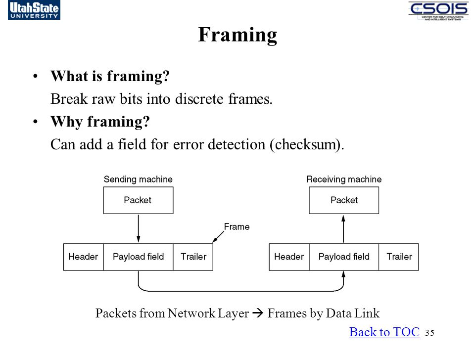 Packets from Network Layer  Frames by Data Link