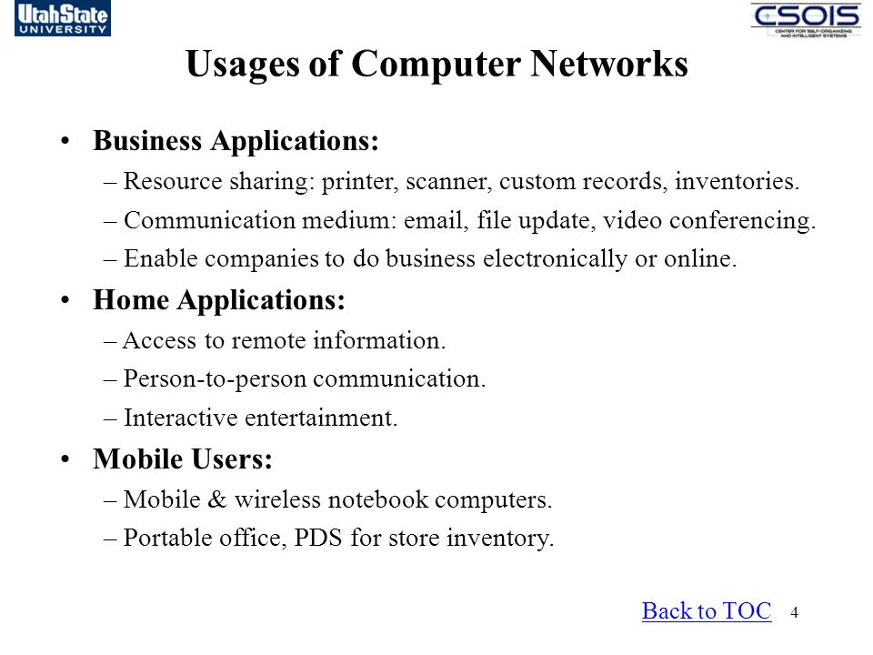 Usages of Computer Networks