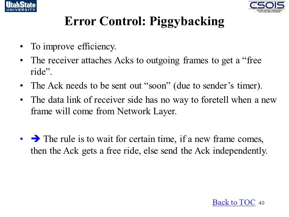Error Control: Piggybacking