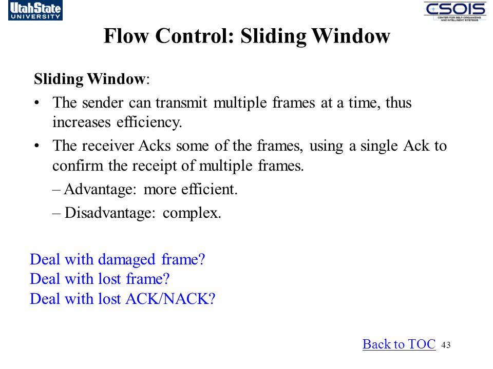 Flow Control: Sliding Window