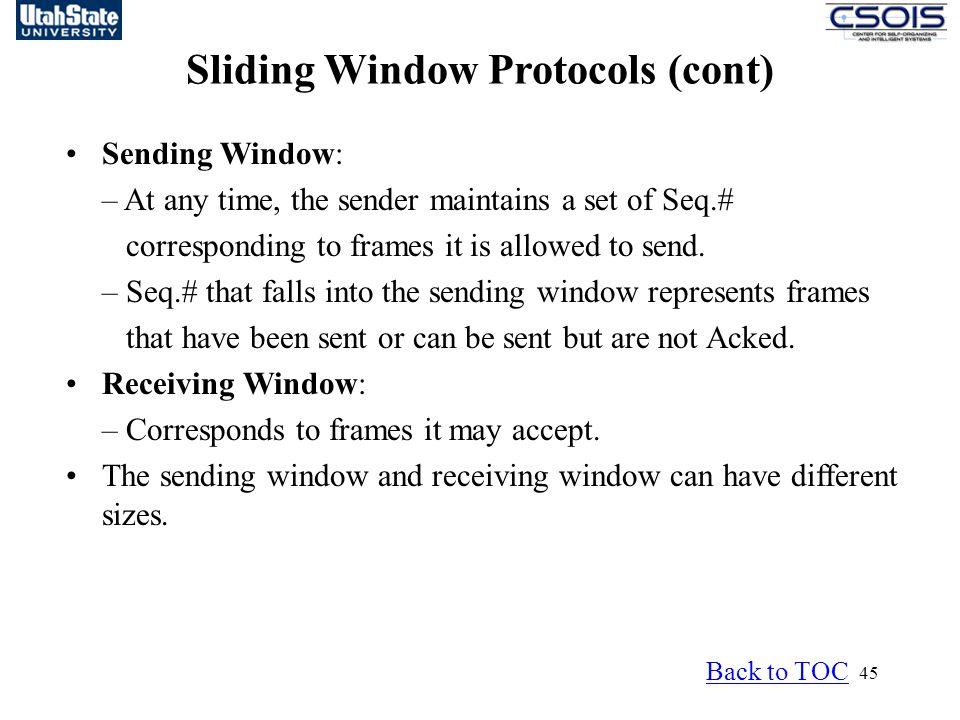 Sliding Window Protocols (cont)