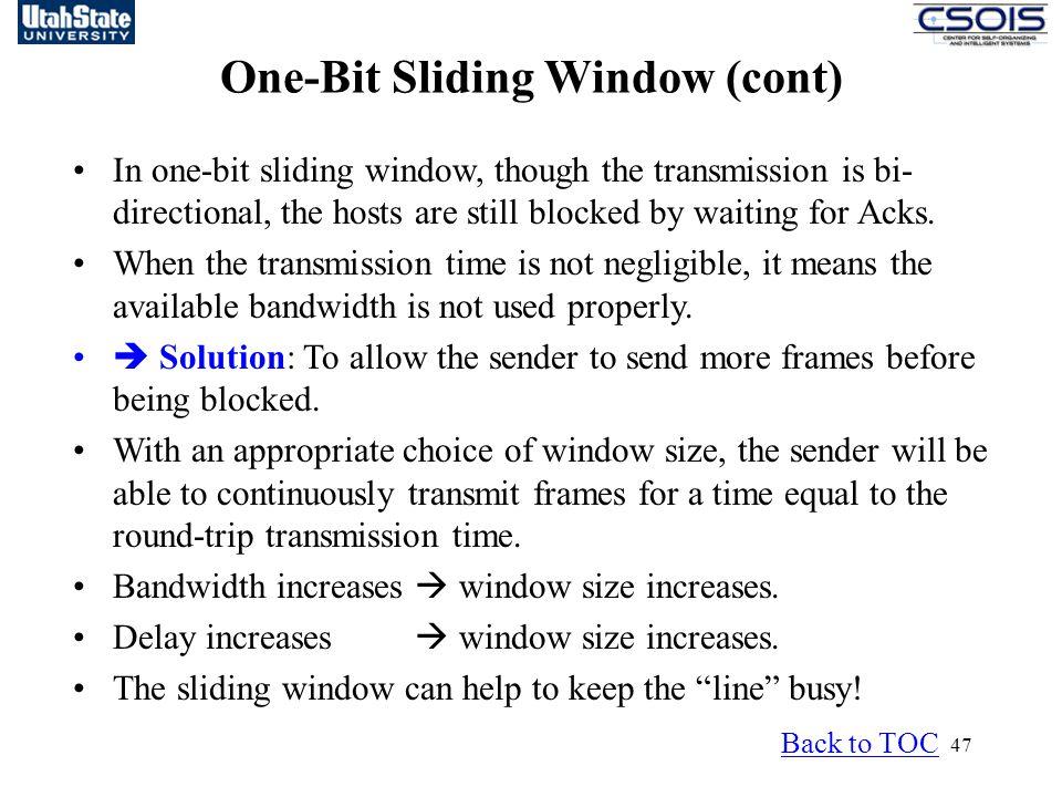 One-Bit Sliding Window (cont)