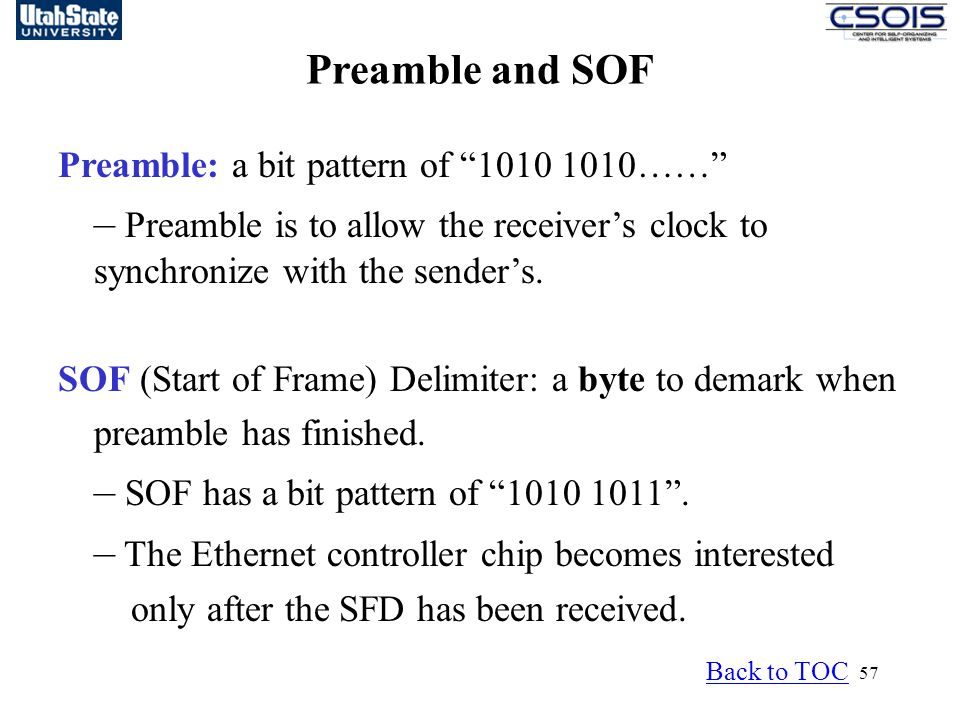 Preamble and SOF Preamble: a bit pattern of 1010 1010…… – Preamble is to allow the receiver's clock to synchronize with the sender's.