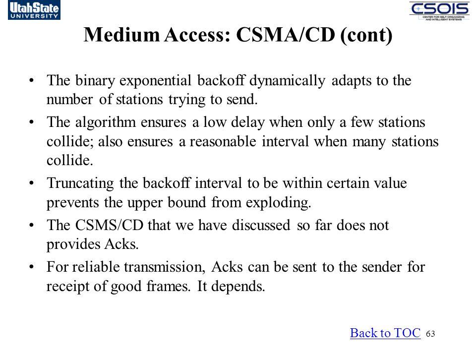 Medium Access: CSMA/CD (cont)