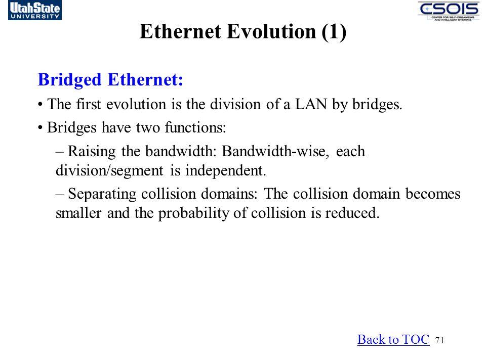 Ethernet Evolution (1) Bridged Ethernet: