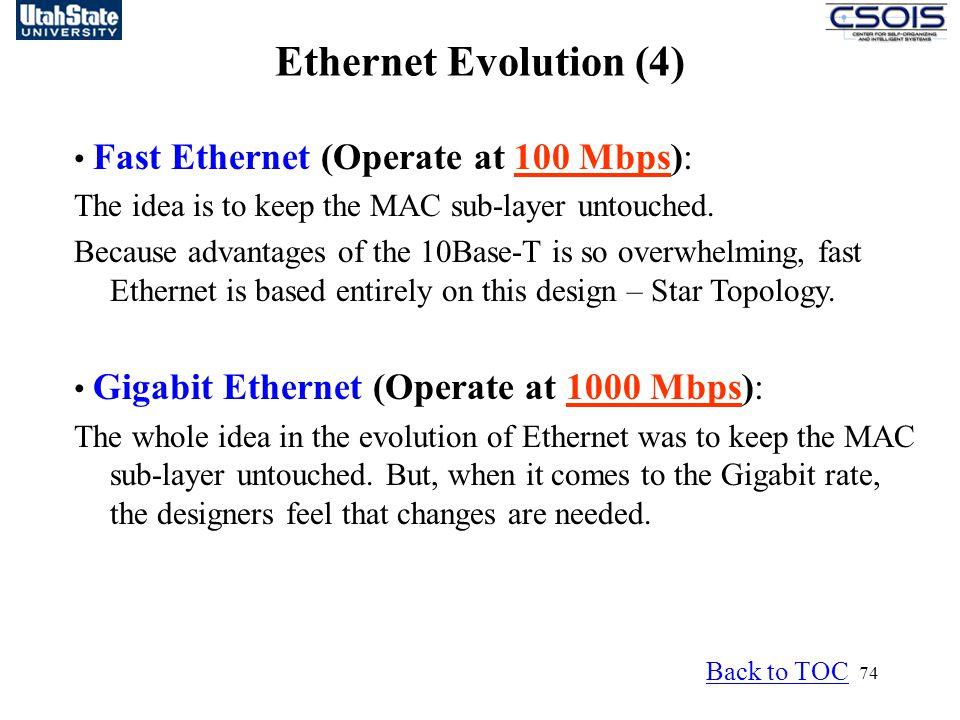 Ethernet Evolution (4) • Fast Ethernet (Operate at 100 Mbps):