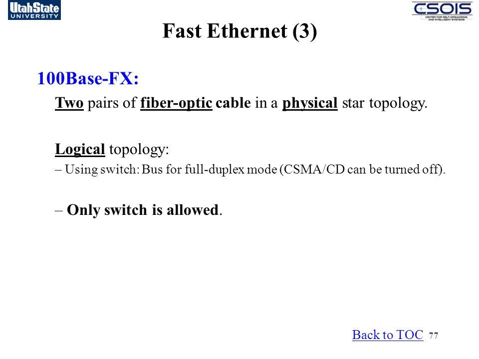 Fast Ethernet (3) 100Base-FX: