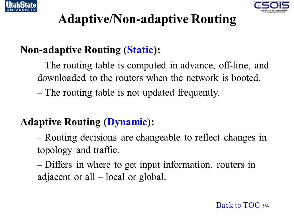 Adaptive/Non-adaptive Routing