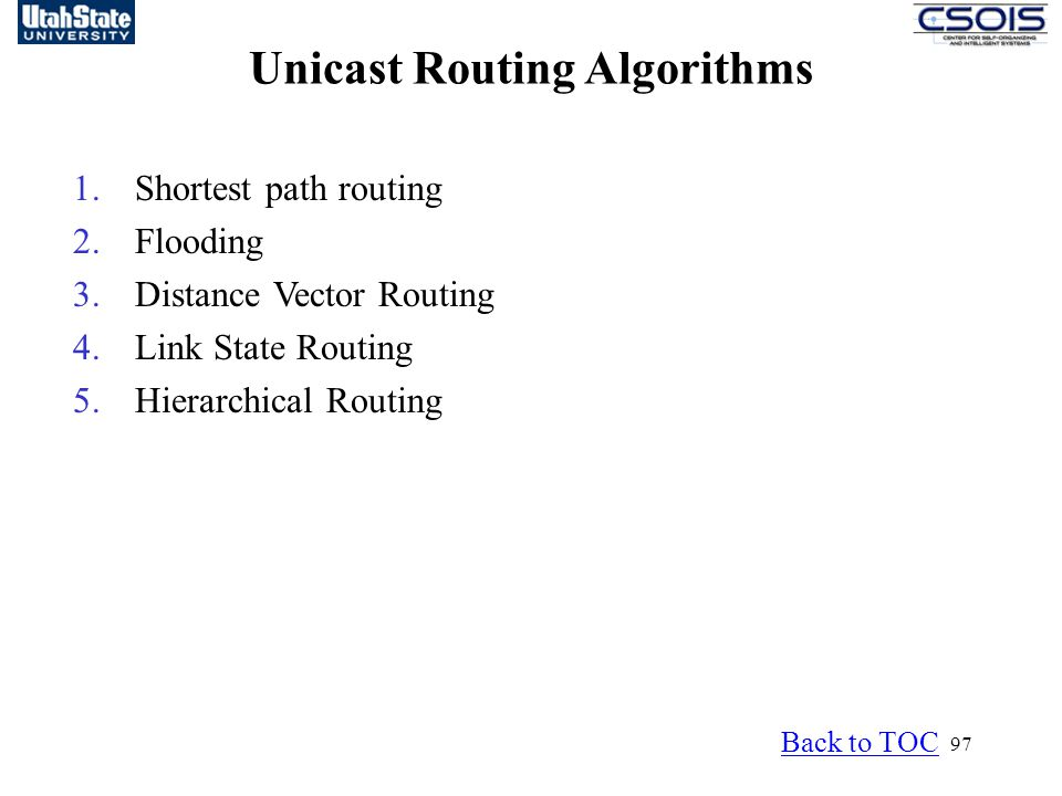 Unicast Routing Algorithms