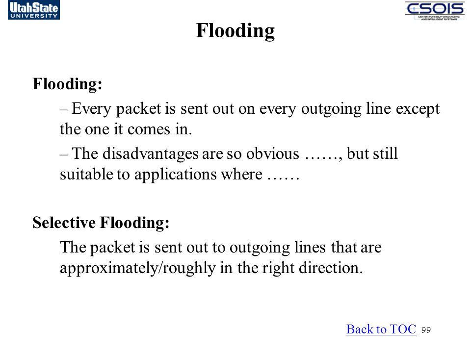 Flooding Flooding: – Every packet is sent out on every outgoing line except the one it comes in.