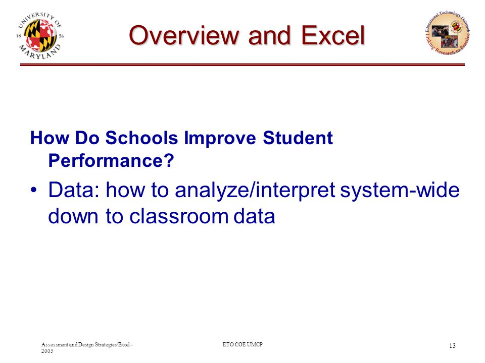 Oak Hill Academy - 2003 10/29/03. Overview and Excel. How Do Schools Improve Student Performance