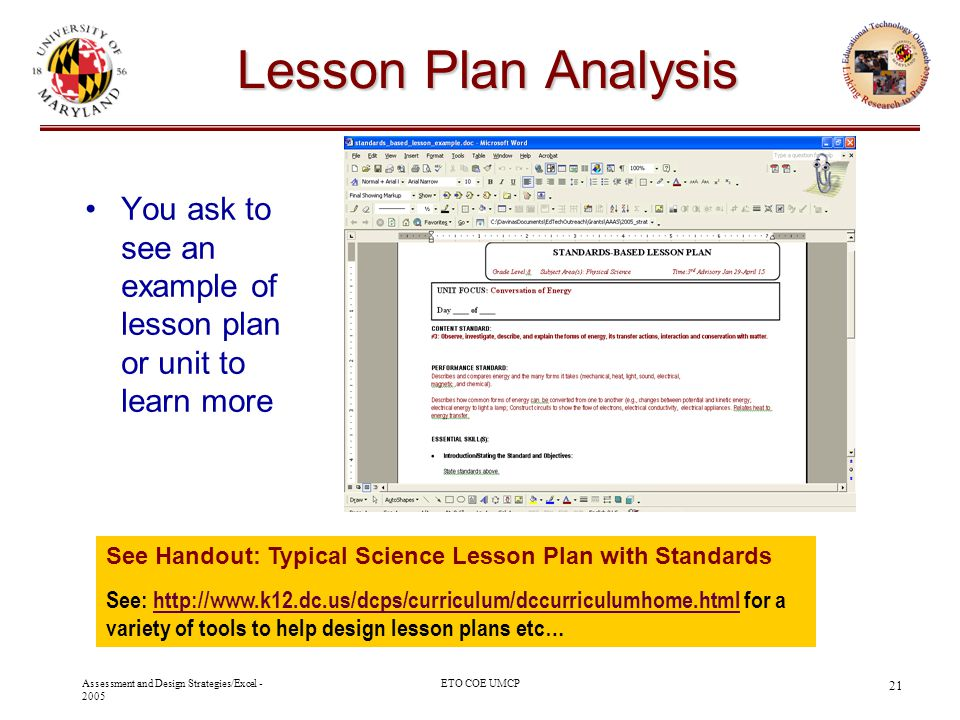 Oak Hill Academy - 2003 10/29/03. Lesson Plan Analysis. You ask to see an example of lesson plan or unit to learn more.